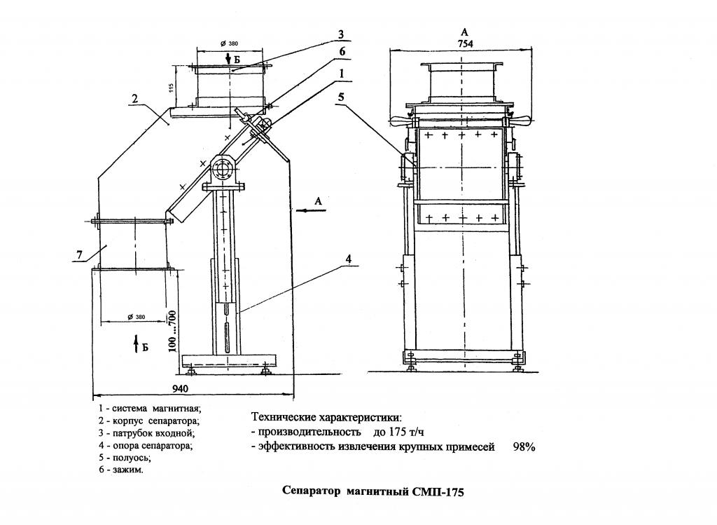 Чертеж и устройство сепаратора СМП-175
